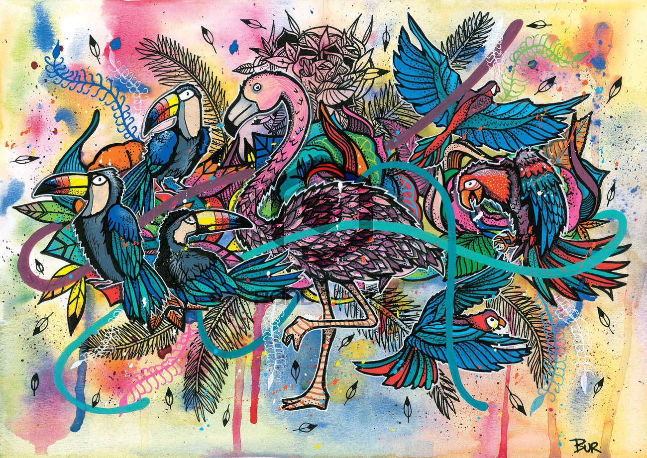 TROPICAL-BIRDS BUR ARTISTE STREET ART