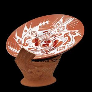 Ceramique mata ortiz art mexicain plateau rouge blanc