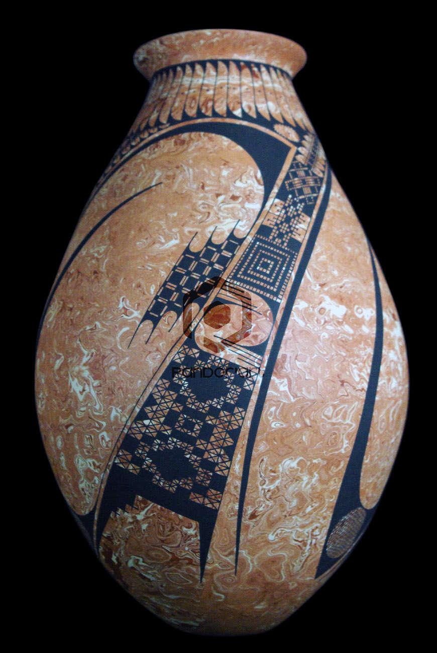 vase ceramique art mexicain blanc marron mata ortiz