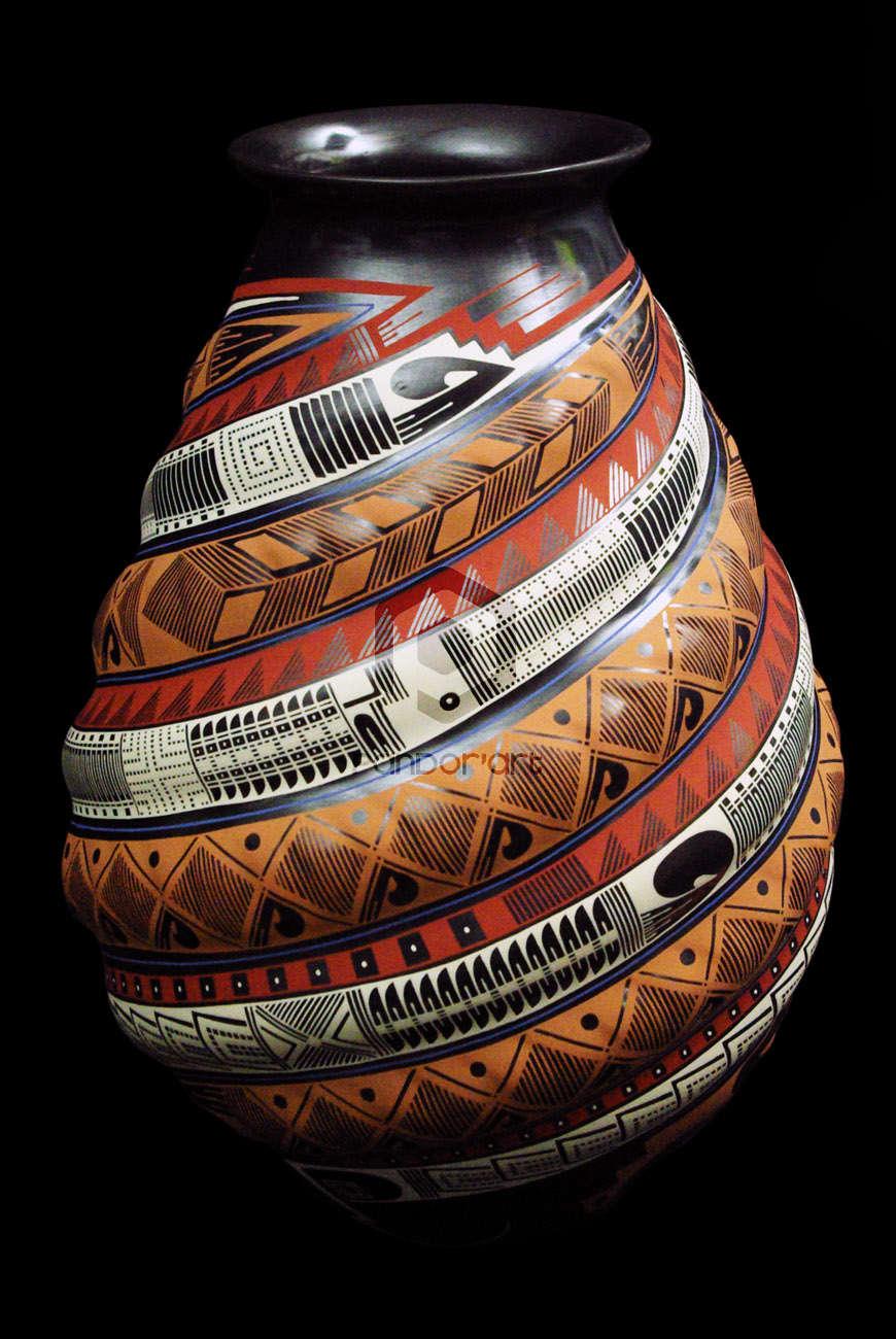 vase ceramique relief couleurs mata ortiz art mexicain