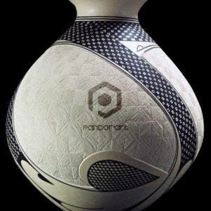 vase ceramique stries noir blanc mata ortiz mexicain