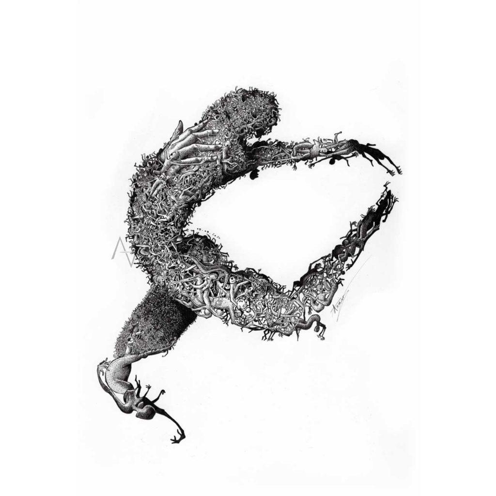 Grimace--21x29,7cm - dessin art - alexis armion
