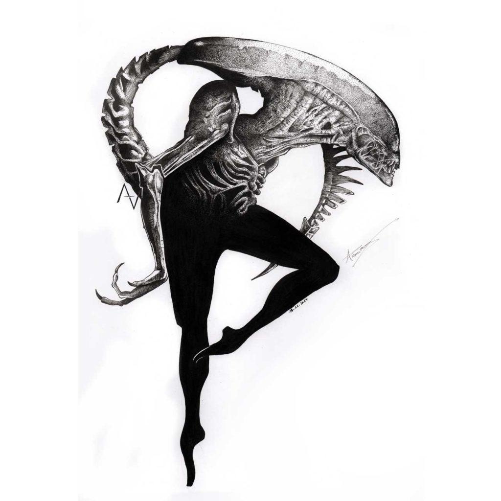 Monstrous-Ballet--21x29,7cm - dessin art - alexis armion