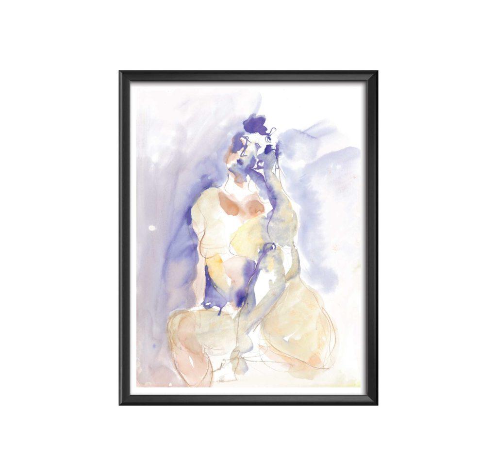 AC-femme-reveuse-2-aquarelle sandra vigouroux