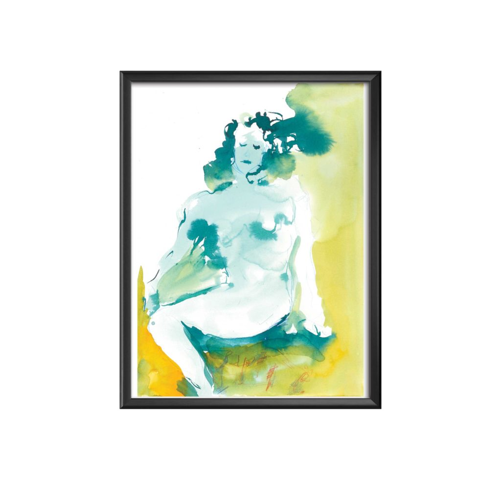 AC-femme-reveuse-aquarelle sandra vigouroux
