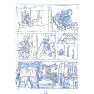 PMG-planche-19 Encrage sur bleu - Planche original de la bande dessinée Shéhérazade In HM9S (Haruki Murakami Nine Stories)