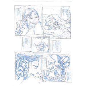 PMG-planche-2 Encrage sur bleu - Planche original de la bande dessinée Shéhérazade In HM9S (Haruki Murakami Nine Stories)