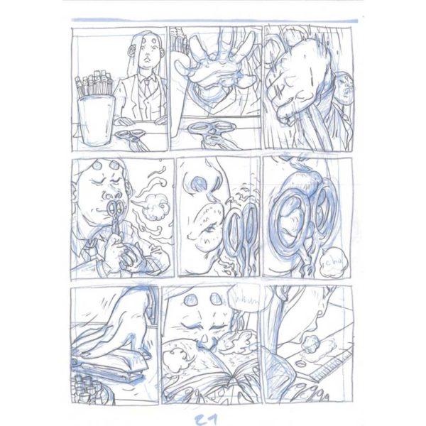 PMG-planche-21 Encrage sur bleu - Planche original de la bande dessinée Shéhérazade In HM9S (Haruki Murakami Nine Stories)