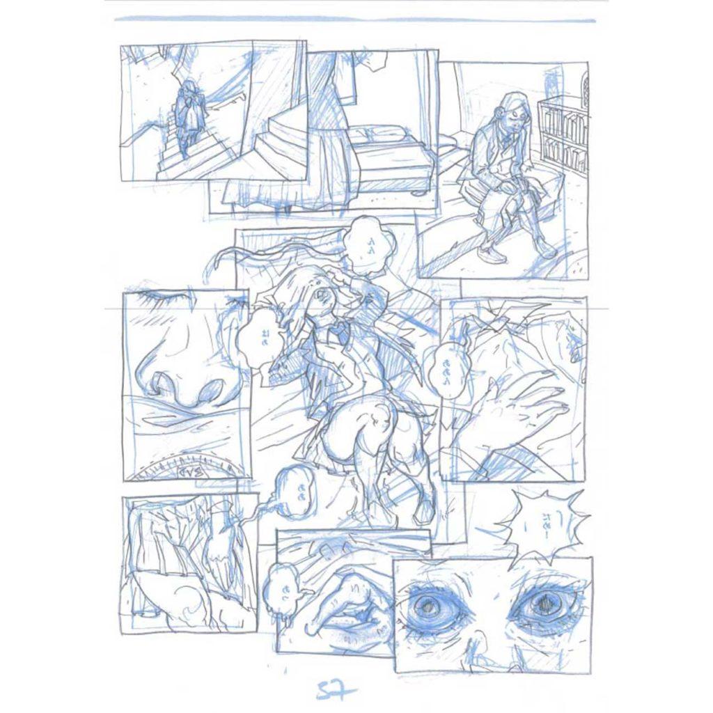 PMG-planche-37 Encrage sur bleu - Planche original de la bande dessinée Shéhérazade In HM9S (Haruki Murakami Nine Stories)