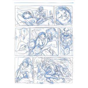 PMG-planche-40 Encrage sur bleu - Planche original de la bande dessinée Shéhérazade In HM9S (Haruki Murakami Nine Stories)