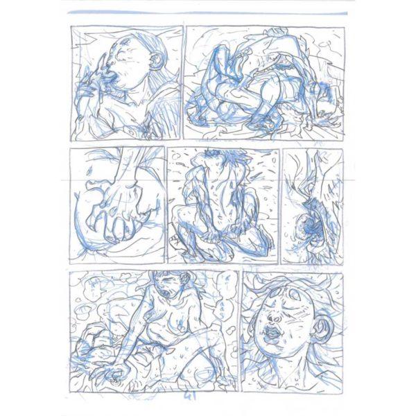 PMG-planche-41 Encrage sur bleu - Planche original de la bande dessinée Shéhérazade In HM9S (Haruki Murakami Nine Stories)