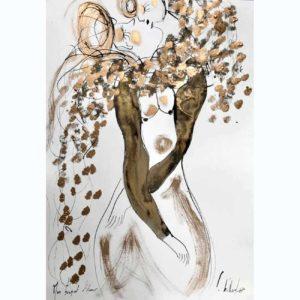 Monbouquetd'amour 50X65cm-techniques mixtes sur papier 2020 Emilie Teillaud
